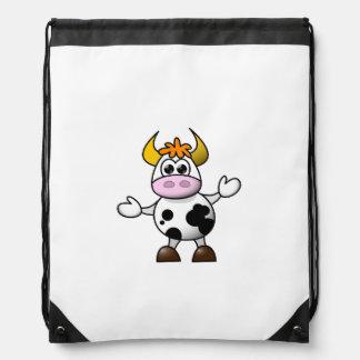 Drawn Cartoon Black and White Cow Bull Cinch Bag