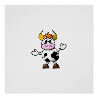Drawn Cartoon Black and White Cow Bull Poster