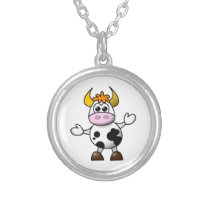 Drawn Cartoon Black and White Cow Bull Silver Plated Necklace