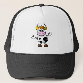 Drawn Cartoon Black and White Cow Bull Trucker Hat