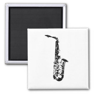 Drawn Look Saxophone 2 Inch Square Magnet