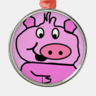 Drawn Pig face Round Metal Christmas Ornament