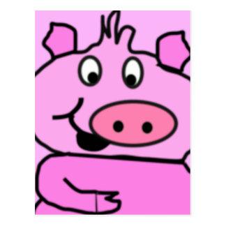 Drawn Pig face Postcard