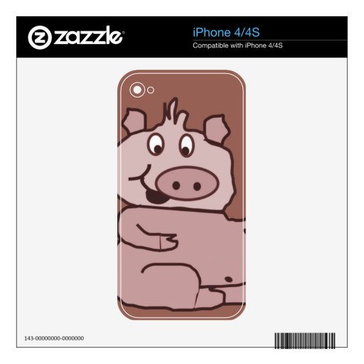 Drawn Pig face iPhone 4S Skin