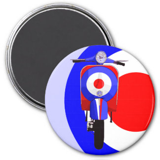 Drawn Scooter on half mod target 3 Inch Round Magnet