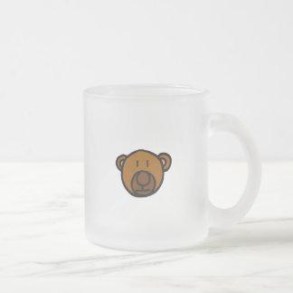 Drawn Teddy Bear Face Frosted Glass Coffee Mug
