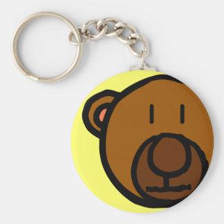 Drawn Teddy Bear Face Keychain