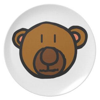 Drawn Teddy Bear Face Dinner Plates