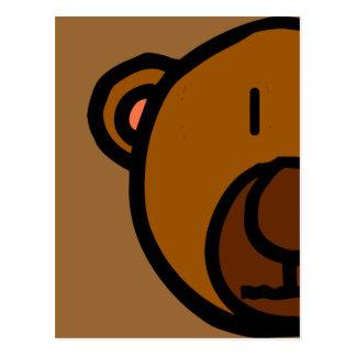 Drawn Teddy Bear Face Postcard