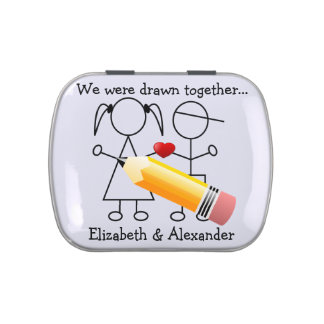 Drawn Together Stick Figure Wedding Favor Candy Tin