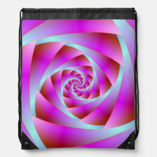 Drawstring Backpack A Twist of Blue and Pink