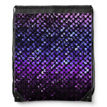 Drawstring Backpack Purple Crystal Bling Strass