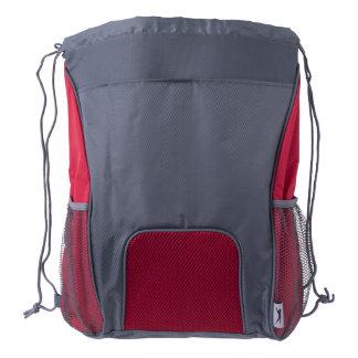 Drawstring Backpack, Red/Gray Drawstring Backpack