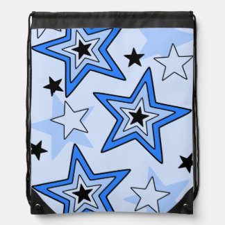 Drawstring Backpack Shades of Blue Star Design