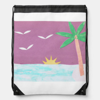 Drawstring Backpack with a Palm and Ocean Scene
