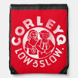 Drawstring backpack with CorleyQ logo