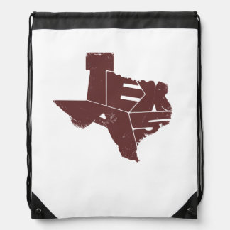Drawstring Backpack with Dark Red Texas State Map