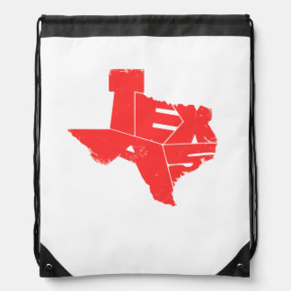 Drawstring Backpack with Red Texas State Map