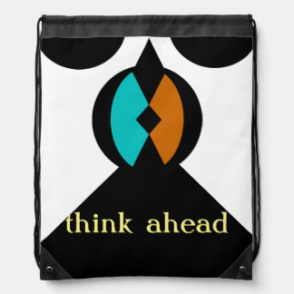 """Drawstring Backpack with """"think ahead"""" symbol"""