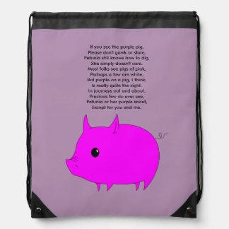 Drawstring pig backpack