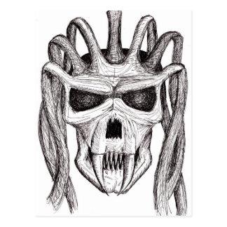 dread skull postcard