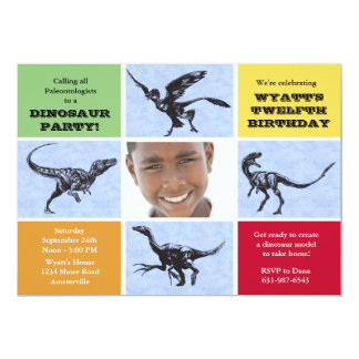 Dreadful Dinosaurs Photo Birthday Party Invitation