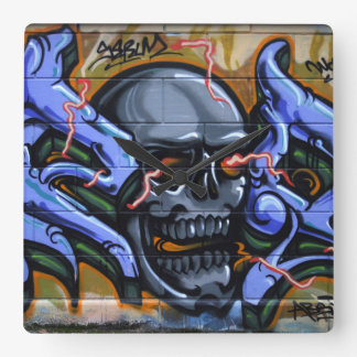 Dreadful Skull With Burning Eyes Square Wall Clock