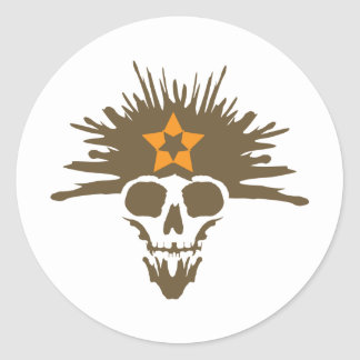 Dreadhead (brown & orange) classic round sticker