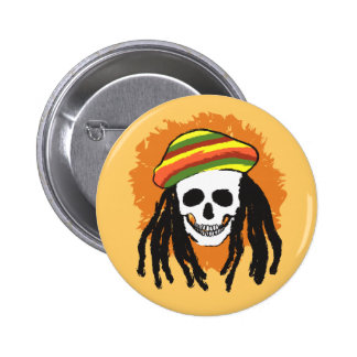 Dreadlock skull pinback button