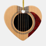 Dreadnought Acoustic six string Guitar Double-Sided Heart Ceramic Christmas Ornament