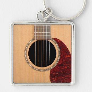 Dreadnought Acoustic six string Guitar Silver-Colored Square Keychain