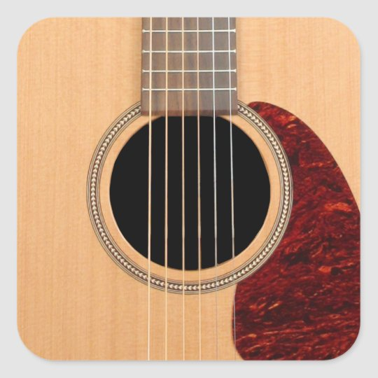 Dreadnought Acoustic six string Guitar Square Sticker