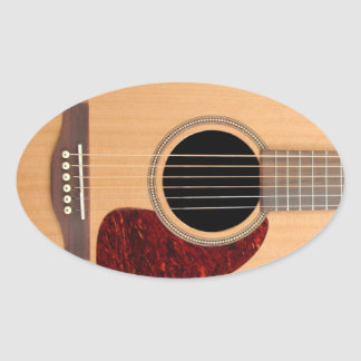 Dreadnought Acoustic six string Guitar Oval Sticker