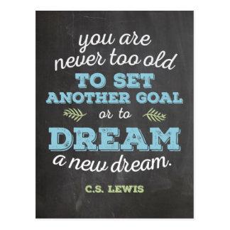 Dream a New Dream CS Lewis Quote Chalkboard Postcard
