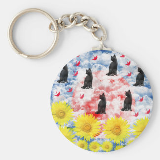 Dream and thousand feather beginning te basic round button keychain