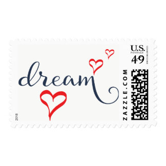 Dream Attitude Motivational Red Hearts Quote Postage