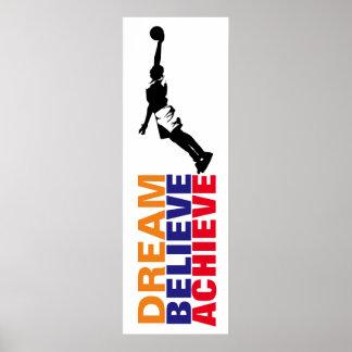 Dream Believe Achieve Basketball Pop Art Poster
