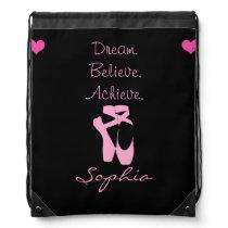 Dream. Believe. Achieve. Dance Drawstring Backpack