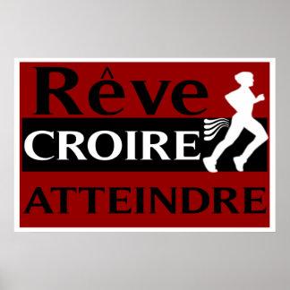 Dream Believe Achieve French Running Poster