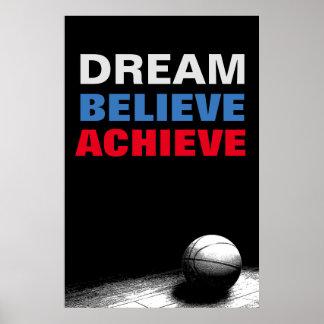 Dream Believe Achieve Motivational Basketball Poster