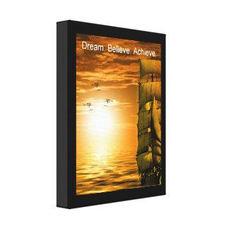 dream believe achieve motivational quote canvas print