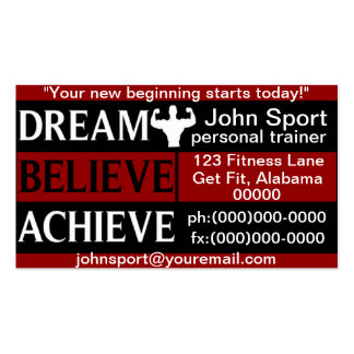 Dream Believe Achieve Personal Trainer Double-Sided Standard Business Cards (Pack Of 100)