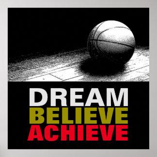 Dream Believe Achieve Pop Art Basketball Poster