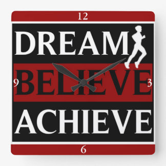 Dream Believe Achieve Runner Wall Clock