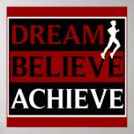 Dream Believe Achieve Running Poster