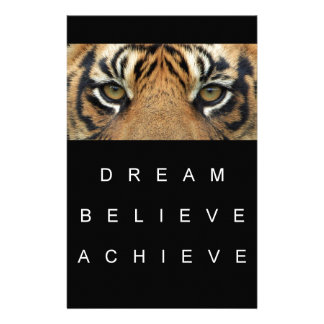 dream believe achieve tiger eyes stationery