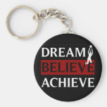 Dream Believe Achieve Womens Volleyball Basic Round Button Keychain