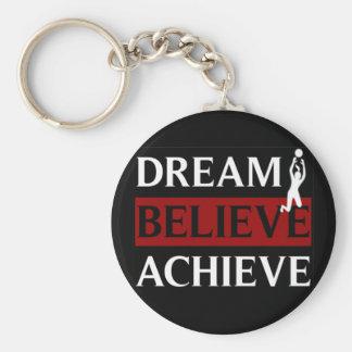 Dream Believe Achieve Womens Volleyball Basic Round Button Keychain