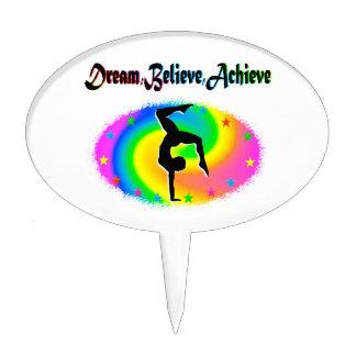 DREAM, BELIEVE AND ACHIEVE GYMNASTICS DREAMS CAKE TOPPER