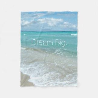 Dream Big Aqua Beach Ocean Scene Landscape Fleece Blanket